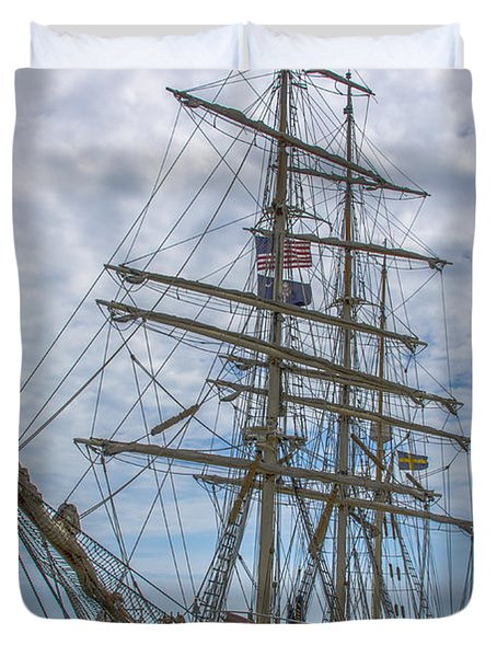 Duvet Cover featuring the photograph Tall Ship Gunilla Vertical by Dale Powell