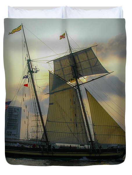 Duvet Cover featuring the photograph Tall Ship In Charleston by Dale Powell