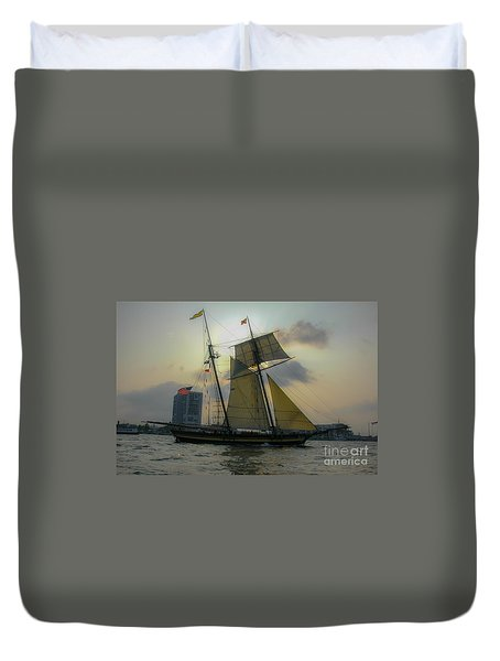 Tall Ship In Charleston Duvet Cover by Dale Powell