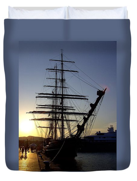 Tall Ship In Ibiza Town Duvet Cover