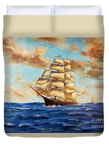 Tall Ship On The South Sea Duvet Cover by Lee Piper
