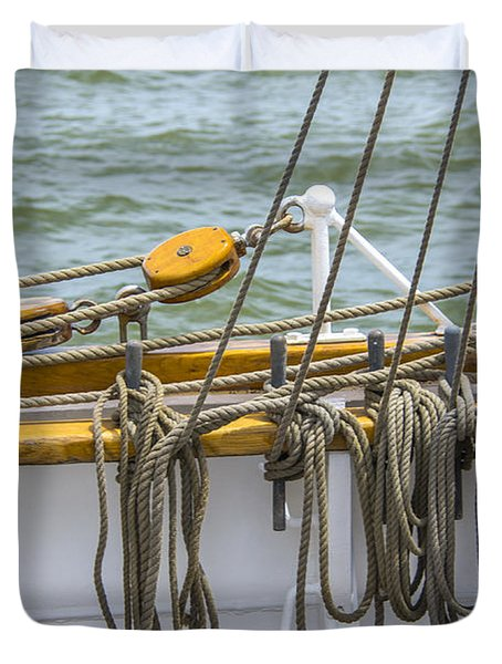 Duvet Cover featuring the photograph Tall Ship Rigging by Dale Powell