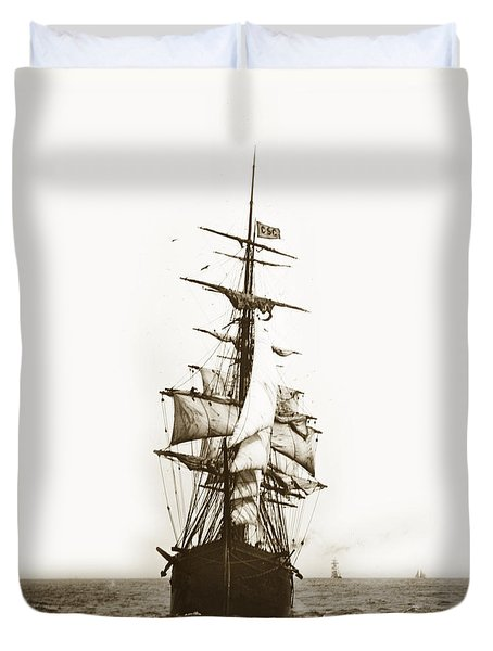Duvet Cover featuring the photograph Tall Ship Sailing Out Of San Francisco California Circa 1900 by California Views Mr Pat Hathaway Archives