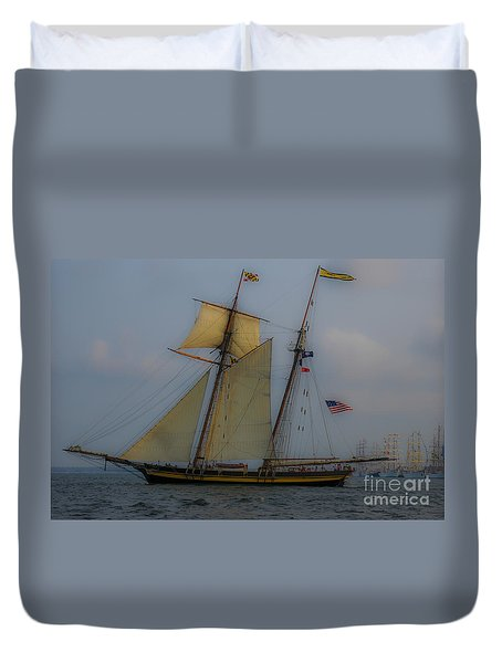 Tall Ships In The Lowcountry Duvet Cover by Dale Powell