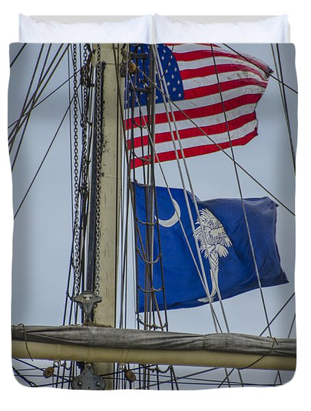 Duvet Cover featuring the photograph Tall Ships Flags by Dale Powell