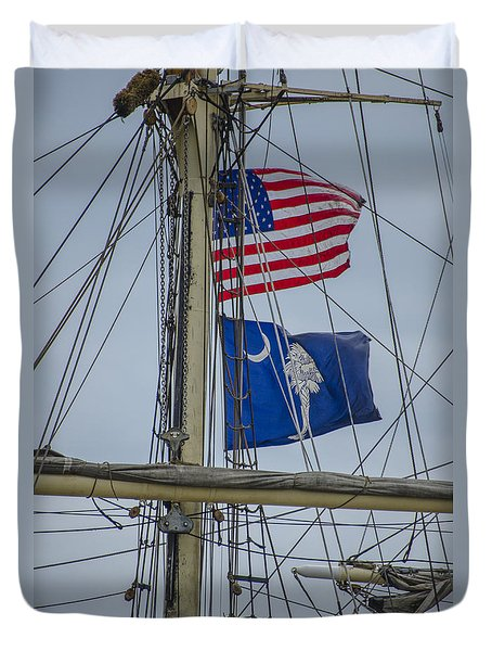Tall Ships Flags Duvet Cover by Dale Powell