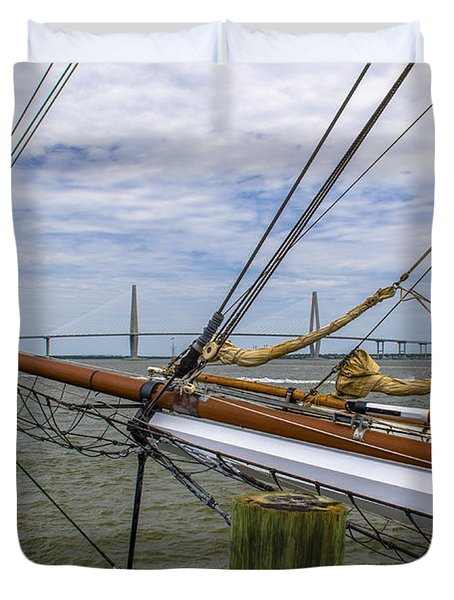 Duvet Cover featuring the photograph Tall Ships In Charleston by Dale Powell