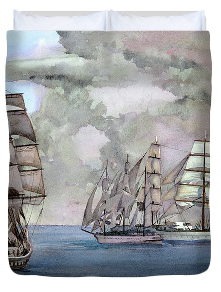 Tall Ships Off Newport Duvet Cover by Steve Hamlin