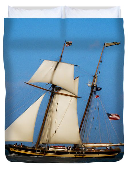 Duvet Cover featuring the digital art Tall Ships Over Charleston by Dale Powell