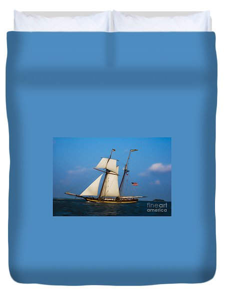 Tall Ships Over Charleston Duvet Cover by Dale Powell