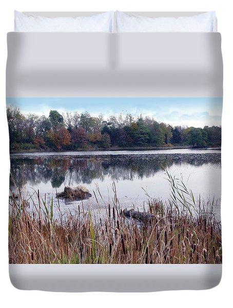 Tallgrass At Lake Katherine Duvet Cover by Cedric Hampton