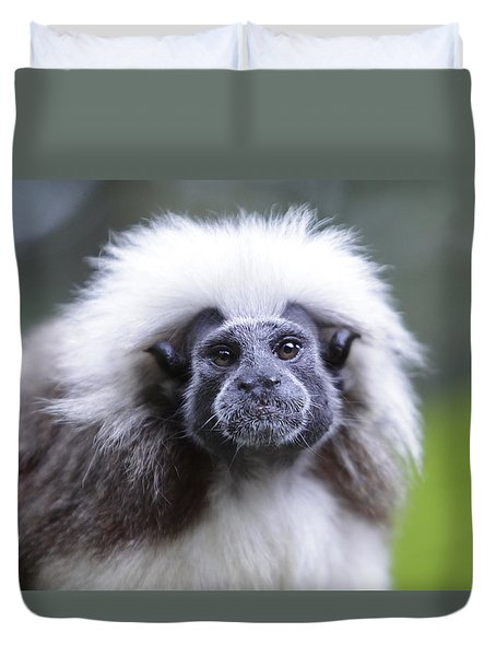 Duvet Cover featuring the photograph Tamarins Face by Shoal Hollingsworth