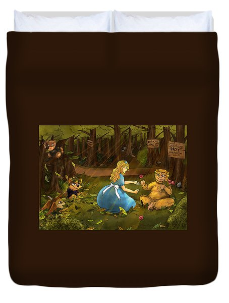 Duvet Cover featuring the painting Tammy And The Baby Hoargg by Reynold Jay