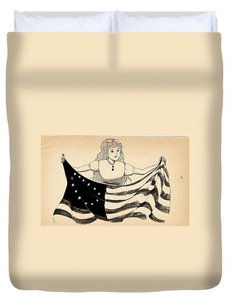 Duvet Cover featuring the drawing Tammy And The Flag by Reynold Jay