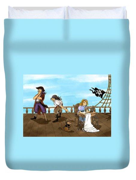 Duvet Cover featuring the painting Tammy And The Pirates by Reynold Jay