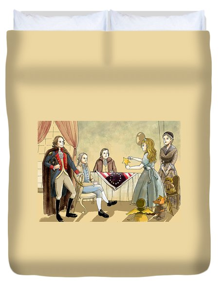 Duvet Cover featuring the painting Tammy Meets Betsy Ross And George Washington by Reynold Jay