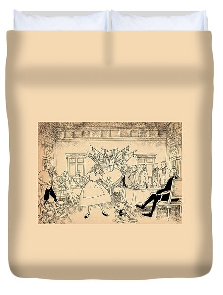 Duvet Cover featuring the drawing Tammy In Indpendence Hall by Reynold Jay