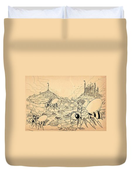 Duvet Cover featuring the drawing Flight Over Capira by Reynold Jay