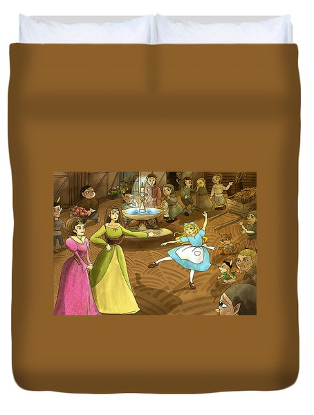 Duvet Cover featuring the painting Tammy In The Town Square by Reynold Jay
