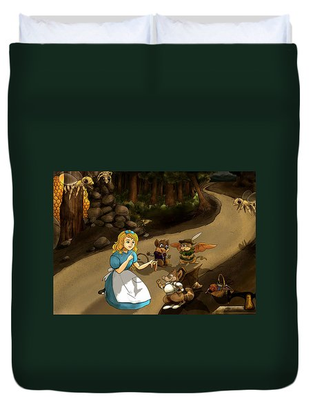 Duvet Cover featuring the painting Tammy Meets Cedric The Mongoose by Reynold Jay