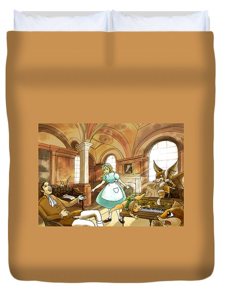 Duvet Cover featuring the painting Tammy Meets Mr. Scott by Reynold Jay