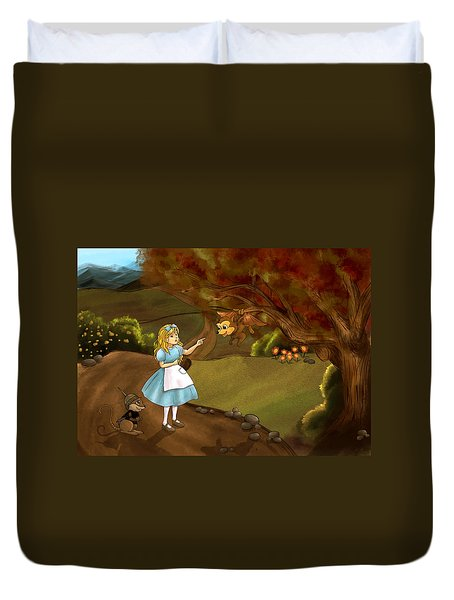 Duvet Cover featuring the painting Tammy Meets Zeke The Opossum by Reynold Jay