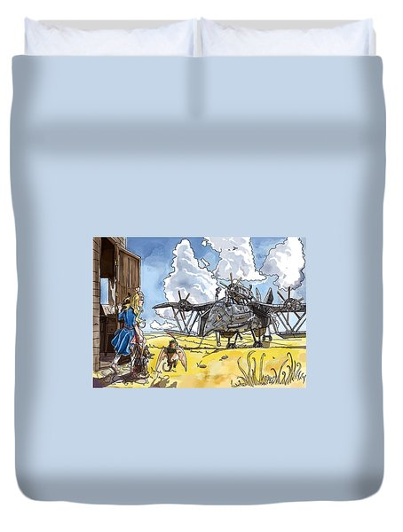 Duvet Cover featuring the painting Tammy Sees A Thingamajig by Reynold Jay