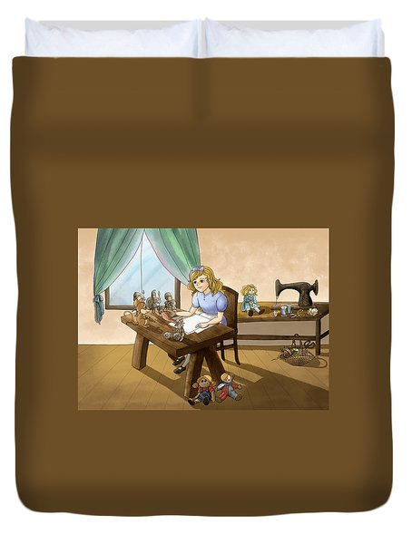 Duvet Cover featuring the painting Tammy The Little Doll Girl  by Reynold Jay