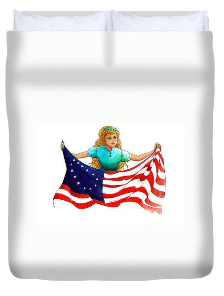 Duvet Cover featuring the painting Tammy's Flag by Reynold Jay