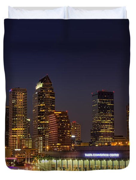 Tampa Lights At Dusk Duvet Cover