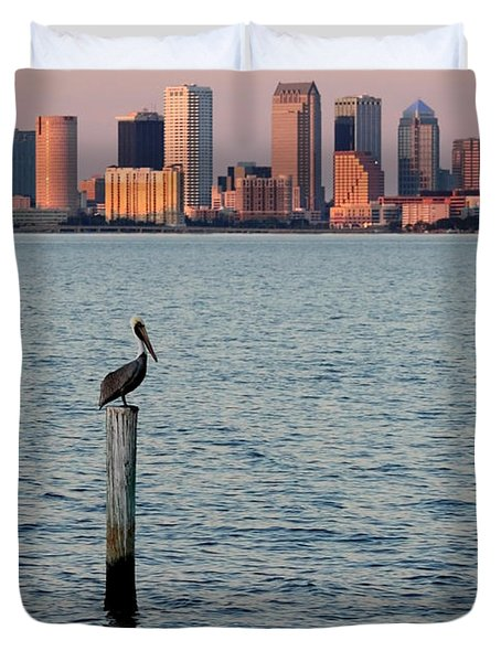 Tampa Skyline And Pelican Duvet Cover by Carol Groenen