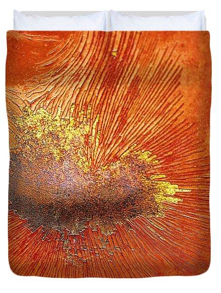 Tangerine Burst Duvet Cover by Leanna Lomanski