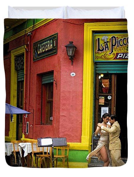 Tango Dancing In La Boca Duvet Cover