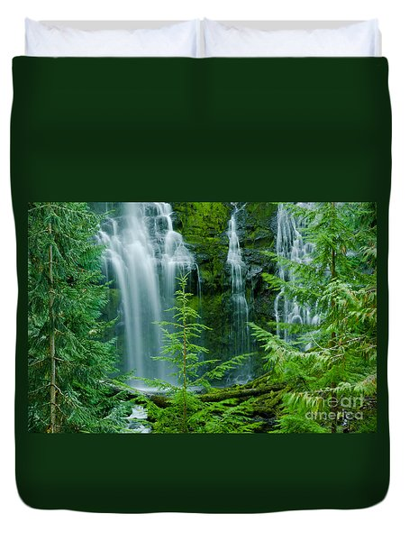 Pacific Northwest Waterfall Duvet Cover by Nick  Boren