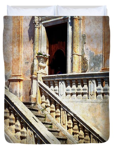 Taormina Staircase Duvet Cover by Carla Parris