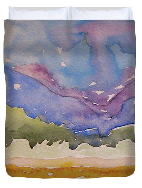 Duvet Cover featuring the painting Taos Fields by Beverley Harper Tinsley