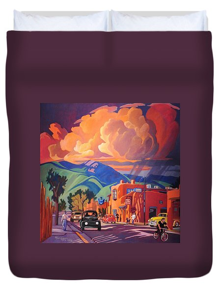 Duvet Cover featuring the painting Taos Inn Monsoon by Art James West