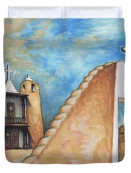 Taos Pueblo New Mexico - Watercolor Art Painting Duvet Cover