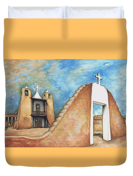 Taos Pueblo New Mexico - Watercolor Art Duvet Cover