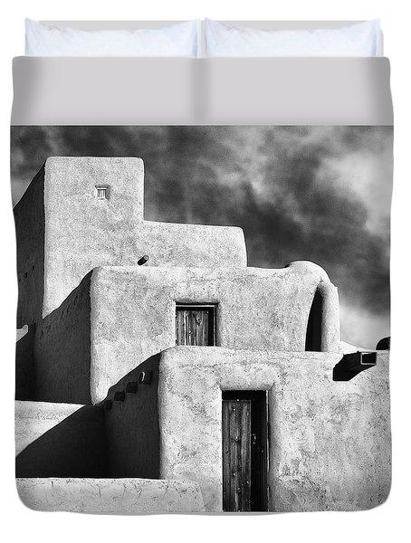 Taos Pueblo Stacks Duvet Cover