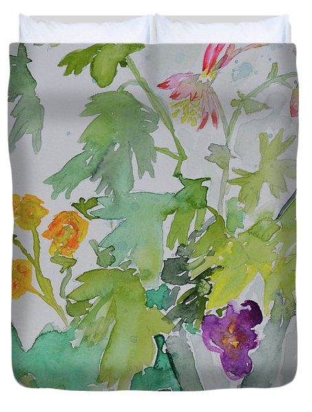 Duvet Cover featuring the painting Taos Spring by Beverley Harper Tinsley