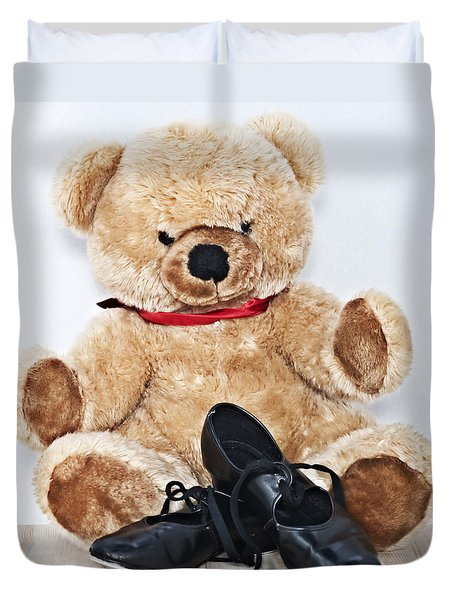 Tap Dance Shoes And Teddy Bear Dance Academy Mascot Duvet Cover