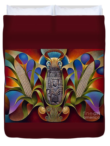 Tapestry Of Gods - Chicomecoatl Duvet Cover