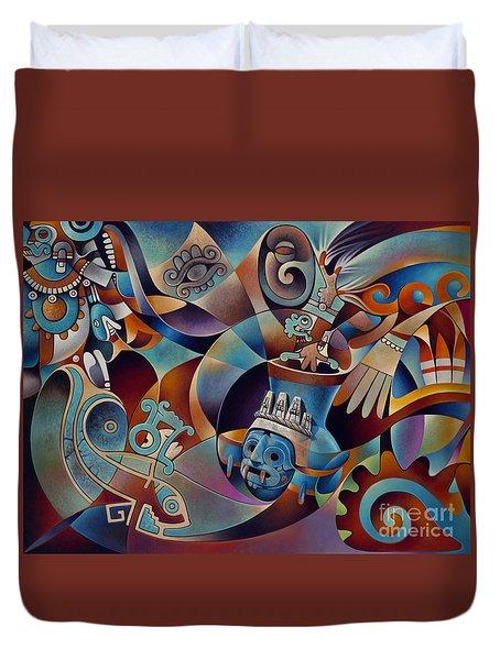Tapestry Of Gods - Tlaloc Duvet Cover