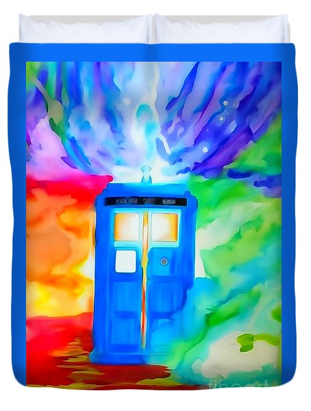 Tardis Watercolor Edition Duvet Cover