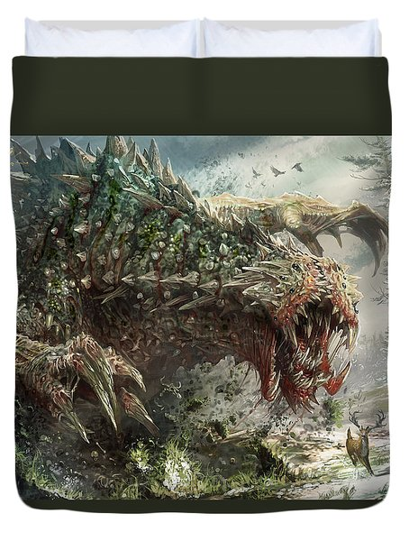 Tarmogoyf Reprint Duvet Cover by Ryan Barger