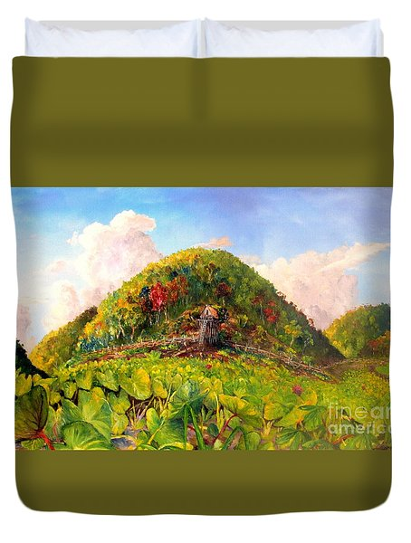Duvet Cover featuring the painting Taro Garden Of Papua by Jason Sentuf