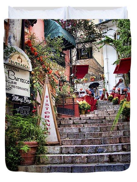Taormina Steps Sicily Duvet Cover