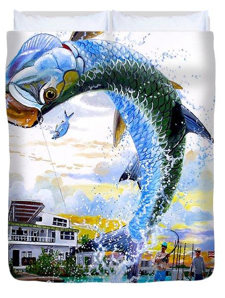 Tarpon Leap Duvet Cover by Carey Chen