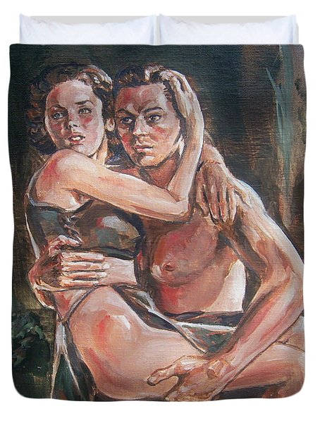 Duvet Cover featuring the painting Tarzan And His Mate by Bryan Bustard